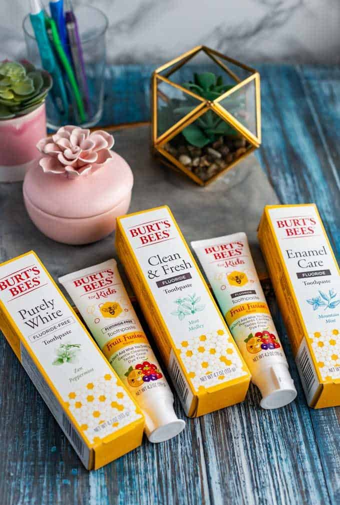 Photo of a selection of Burt's Bees toothpaste on a blue background witha small pink dish and plant behind them.