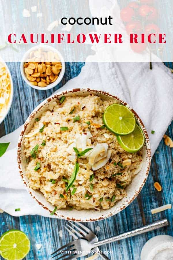 This Coconut Cauliflower Rice is the perfect Thai inspired side dish for your low carb, keto, or gluten-free diet! This healthy recipe is creamy, and packed with flavor! Pair it with Chicken Curry for a complete meal! #CoconutCauliflowerRice #CauliflowerRice #LowCarb