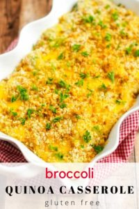 Photo of a Broccoli Quinoa Casserole in a white casserole dish sitting on a red and white napkin.