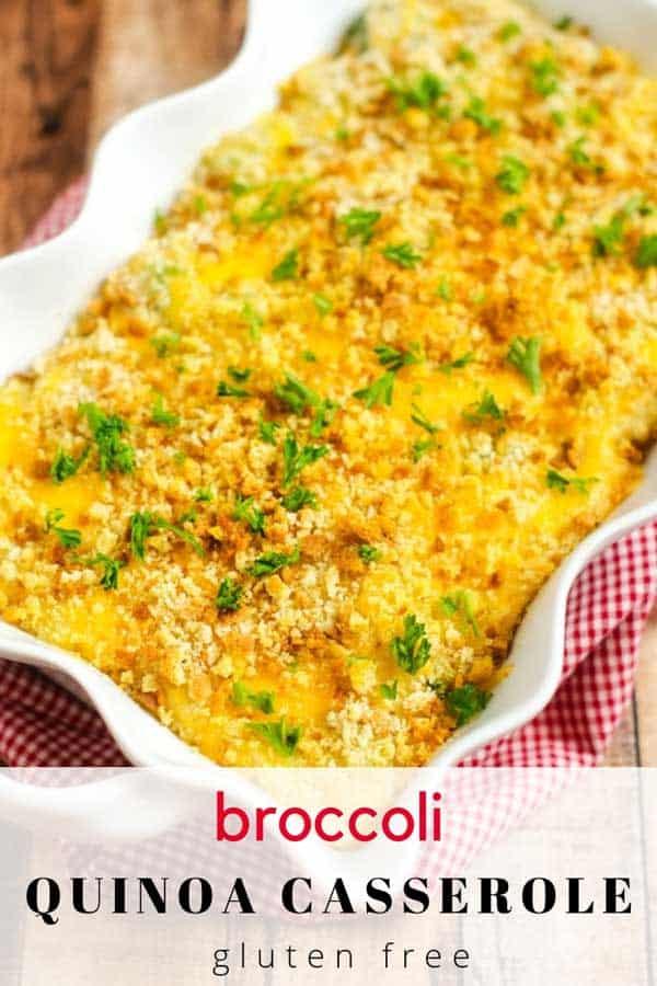 Photo of a Broccoli Quinoa Casserole in a white casserole dish sitting on a red and white napkin.