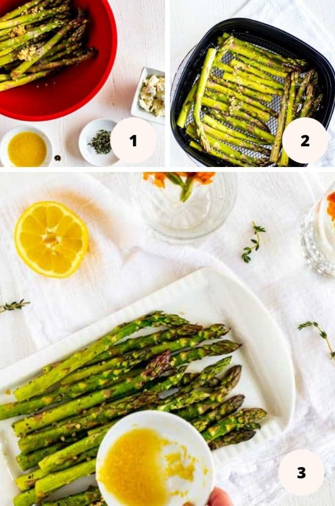 Collage of three process photos for Air Fried Asparagus - the first shot shows asparagus in a bowl tossed with oil, the second shows it in an Air Fryer, and the third plated with the dressing being poured over it.
