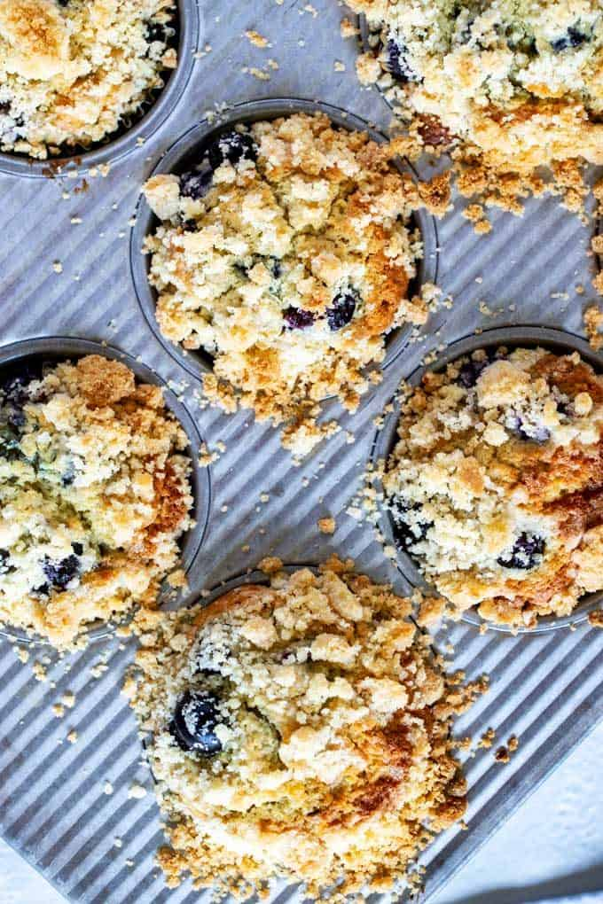 Close up overhead photo of blueberry quinoa muffins in a muffin tin that have been baked.