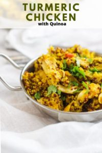 Photo of turmeric chicken with quinoa in a small metal dish against a white background with the recipe title above it.