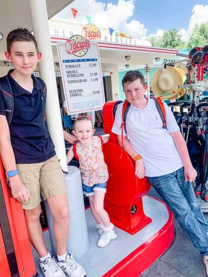 Photo of three kids standing near the entrance of Disney's Hollywood Studio