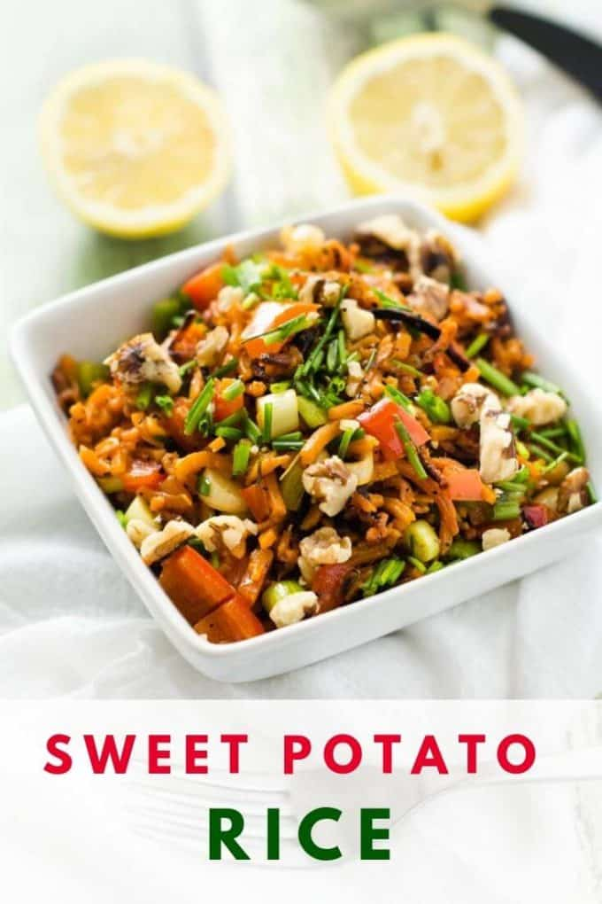"Photo of Sweet Potato Rice in a white bowl with the text ""Sweet Potato Rice"" Beneath it."