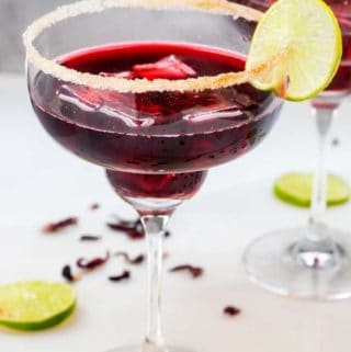 Side photo of a Hibiscus Margarita against a white background.