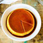 Square photo of pumpkin flan.