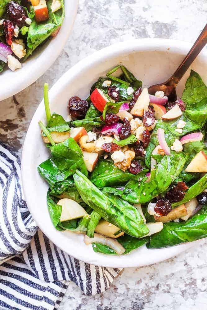 Spinach Apple Salad with Honey Balsamic Vinaigrette
