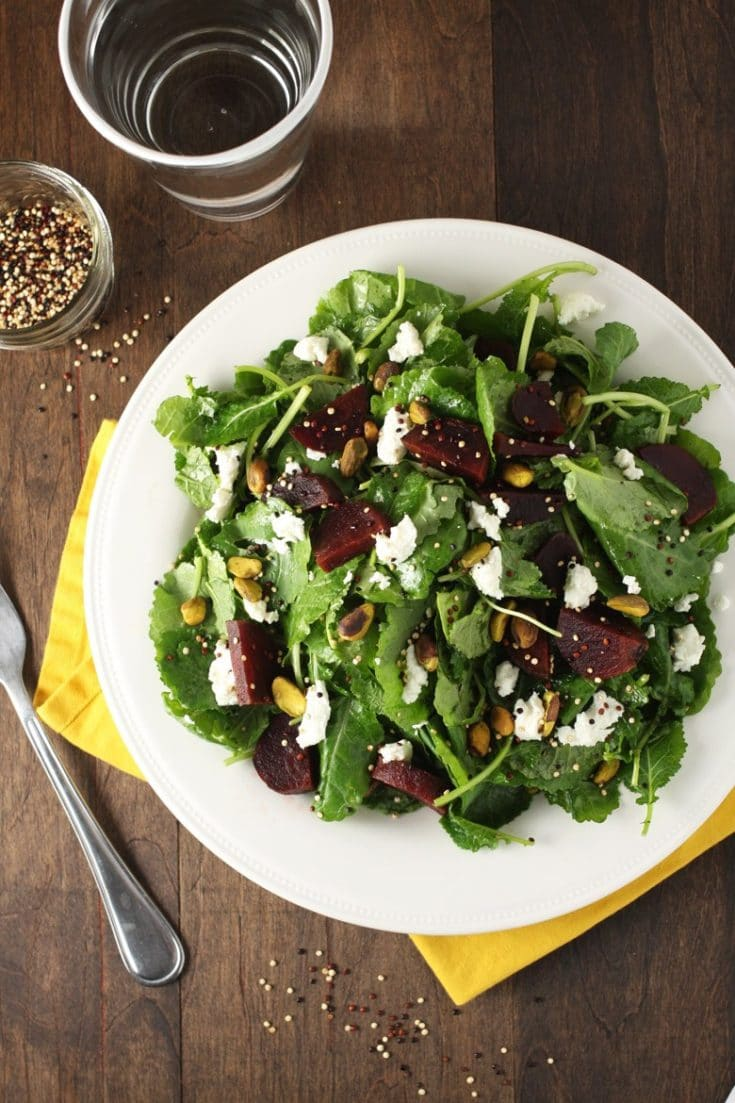 Winter Harvest Kale Salad with Toasted Quinoa and Pistachios