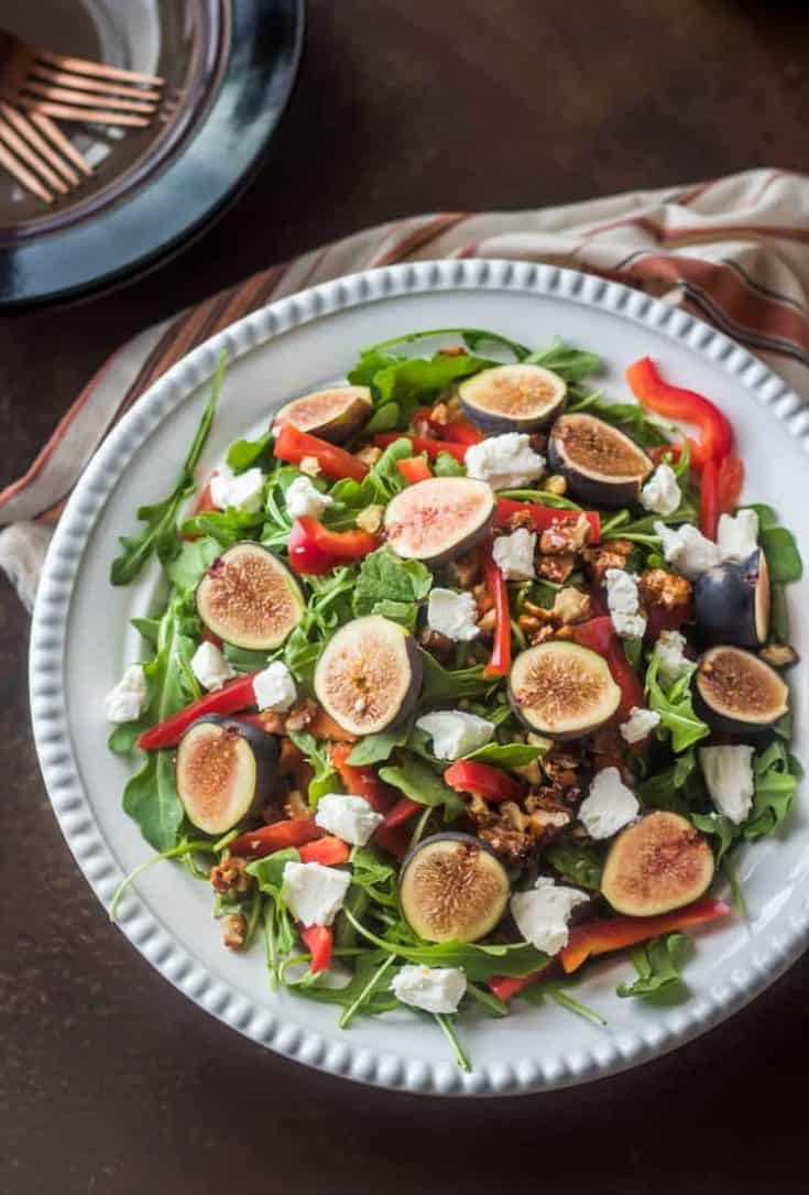 Arugula and Fig Salad With Chèvre and Candied Walnuts