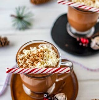 Photo of two glasses slow cooker hot chocolate on wodden plates with holiday decor surrounding them.
