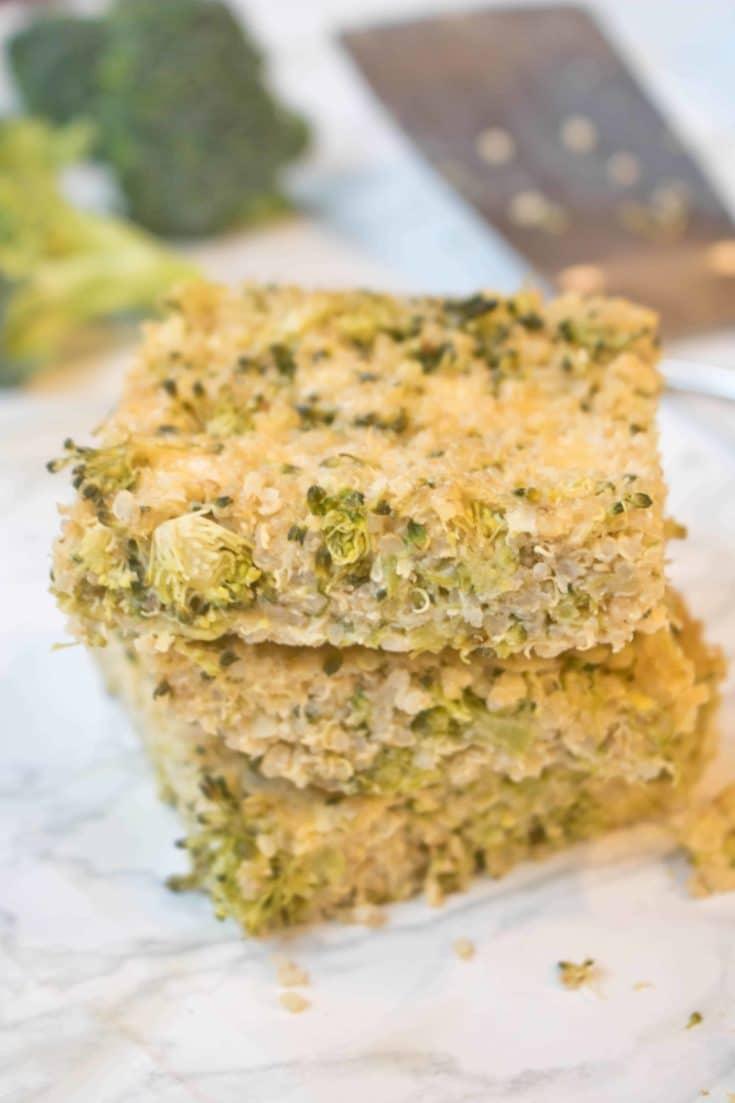 Broccoli Cheddar Quinoa Bars