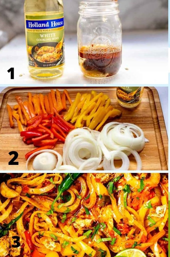 Photo collage of the three easy steps to make Crock-Pot Chicken Fajitas.