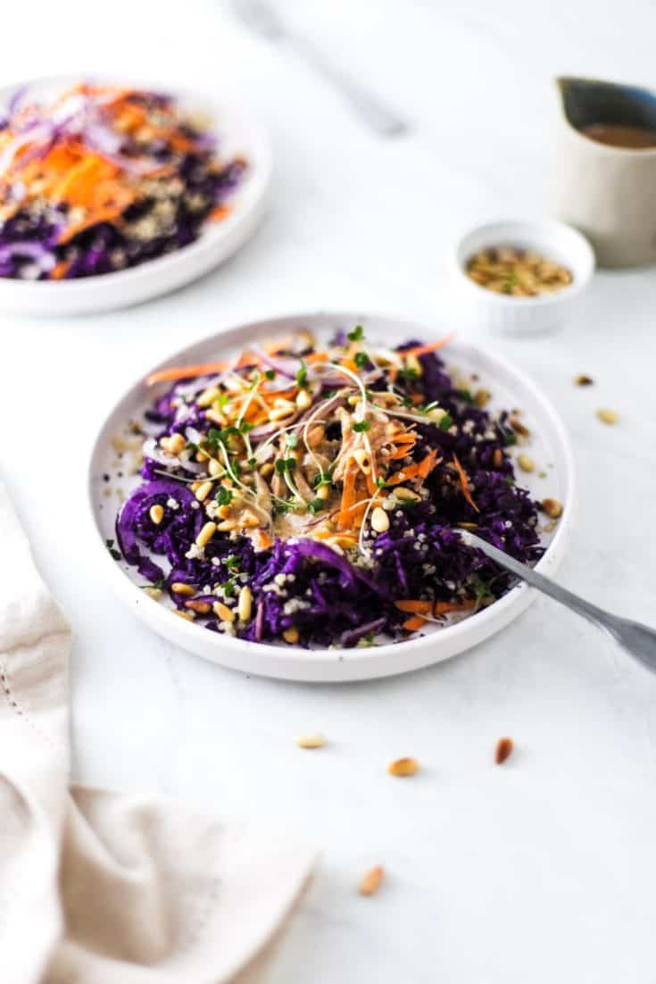 Rainbow Quinoa Salad with Carrot and Cabbage
