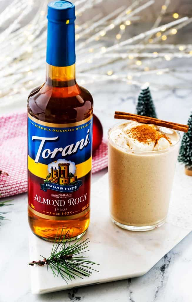 Photo of Torani Sugar Free Almond Roca and a glass of sugar free eggnog.