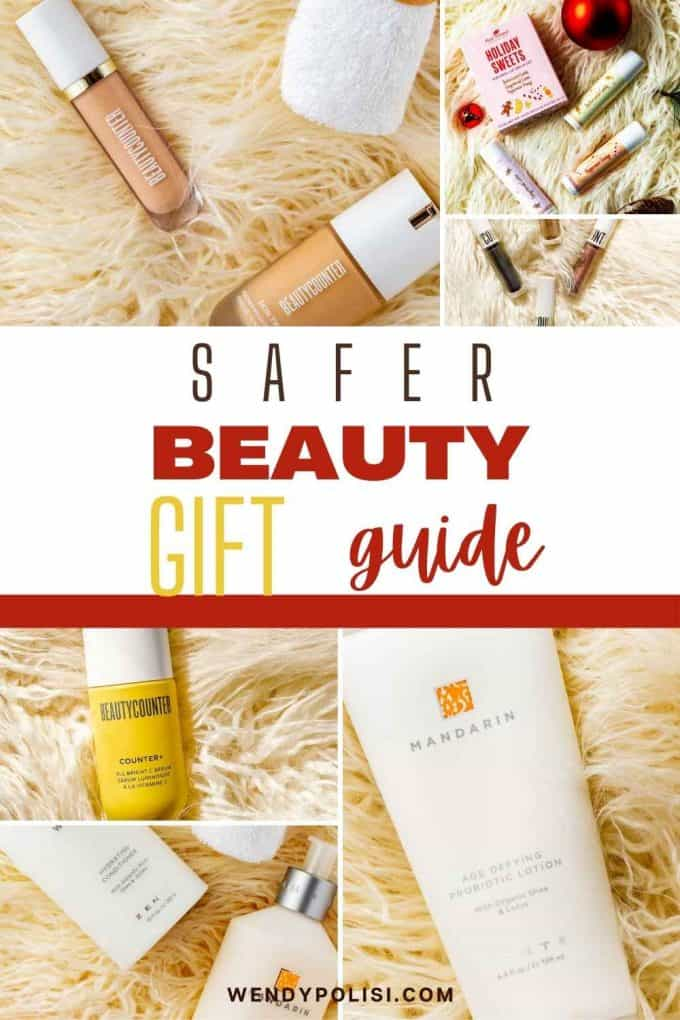 Photo collage of safer beauty products with the text Safer Beauty Gift Guide in the center.