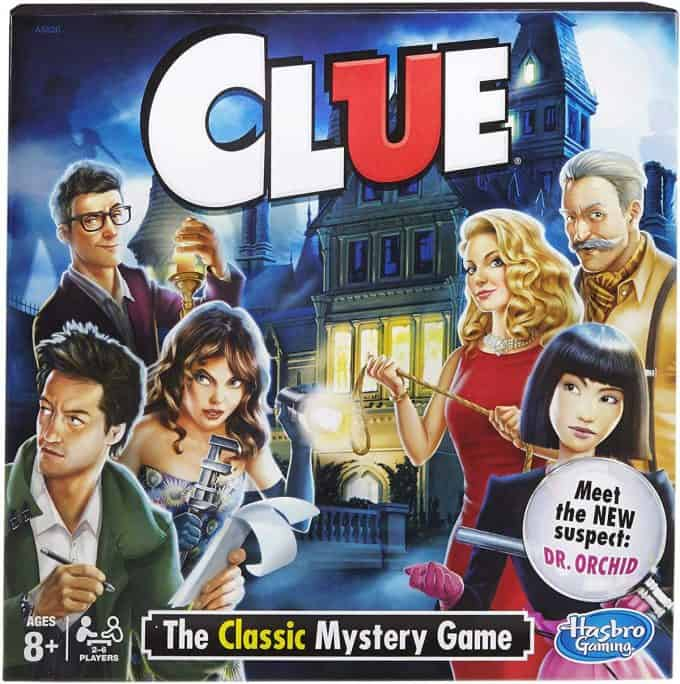 Cover of the clue board game.