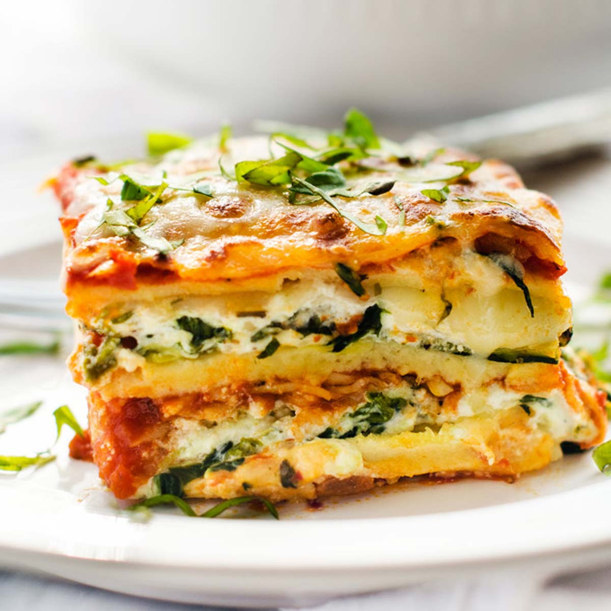 Square side photo of gluten free vegetarian lasagna.