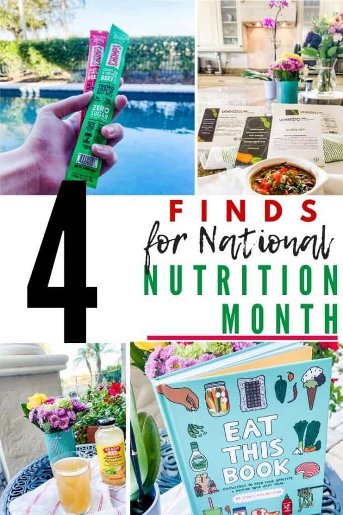 Photo of meat sticks, vegan chili, Bragg Refereshers and a book wiht the text in the center that says 4 finds for national nutrition month.