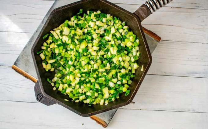 Photo of vegetables for a zucchini fritatta.